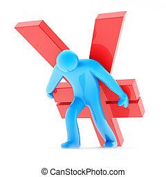 bleu, figure, yen signe, humain, carring, rouges