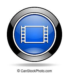 bleu, film, lustré, icône