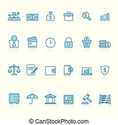 bleu, finance, icones affaires, banque, fond, ligne