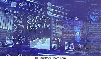 bleu, financier, constitué, infographic, fond, données