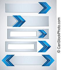 bleu, fini, bannières, flèche, 3d