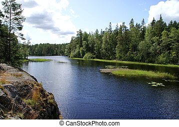 bleu, finlande, forêt, lac