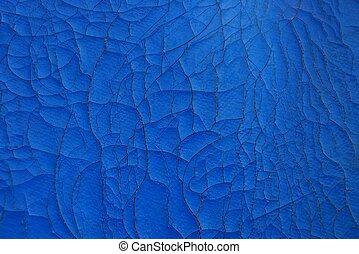 bleu, fissures, vieux, cuir, texture, tapisserie ameublement
