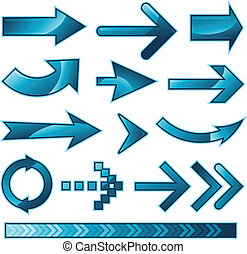 bleu, flèche, collection, signe
