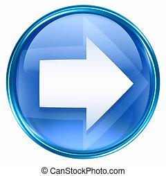 bleu, flèche droite, icône