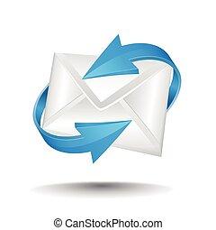 bleu, flèches, circulaire, courrier
