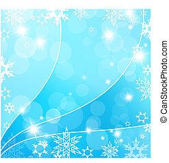 bleu, flakes., neige, fond, noël