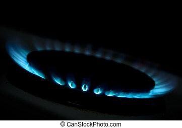 bleu, flammes