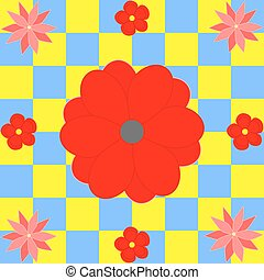 bleu fleurit, carrés, jaune rouge