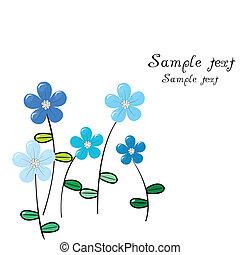 bleu fleurit, carte voeux, délicat