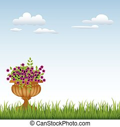 bleu fleurit, ciel, vase, vert, devant, herbe