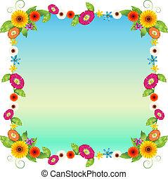 bleu fleurit, coloré, vide, gabarit