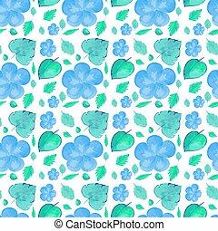 bleu fleurit, conception, seamless, fond