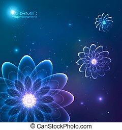 bleu fleurit, cosmique, vecteur, briller
