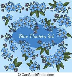 bleu fleurit, ensemble, vecteur