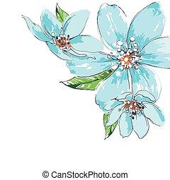 bleu fleurit, fond, aquarelle, coin, ornement