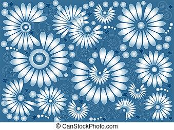 bleu fleurit, fond