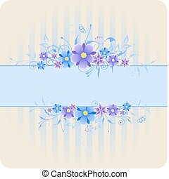 bleu fleurit, fond, violet