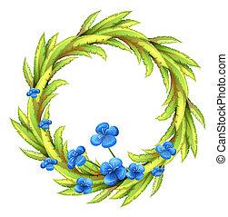 bleu fleurit, frontière, rond