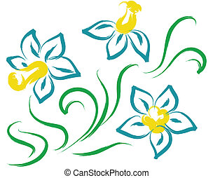 bleu fleurit, nature morte