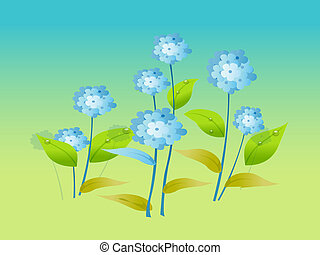 bleu fleurit, vecteur