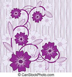 bleu fleurit, vecteur, fond, violet