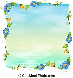 bleu fleurit, vide, gabarit