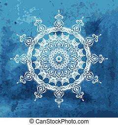 bleu, flocon de neige, fond, aquarelle, vecteur, blanc