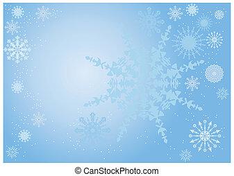 bleu, flocon de neige, fond