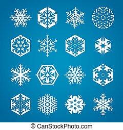 bleu, flocons neige, 16, collection, fond, blanc