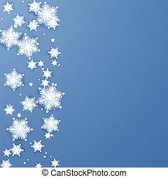 bleu, flocons neige, border., isolé, illustration, décoration, vecteur, fond, année, origami, nouveau, vacances, noël, element.