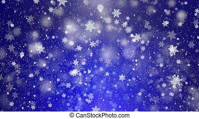 bleu, flocons neige, cadre, neige, loopable, fond, blanc
