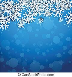 bleu, flocons neige, carte, vecteur