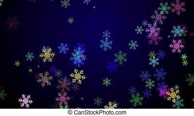 bleu, flocons neige, coloré, fond foncé, tomber