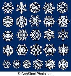 bleu, flocons neige, ensemble, ligne, conception