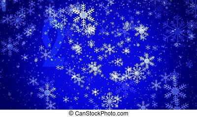 bleu, flocons neige, fond