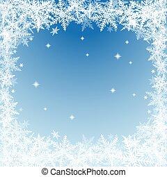 bleu, flocons neige, noël, arrière-plan.