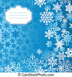 bleu, flocons neige, salutation, fond, noël carte