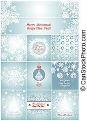 bleu, flocons neige, salutation, papier, cartes, noël
