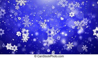 bleu, flocons neige, sombre, arrière-plan., tomber, noël