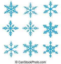bleu, flocons neige