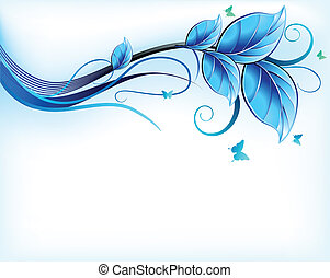 bleu, floral, arrière-plan., vecteur