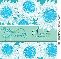 bleu, floral, carte