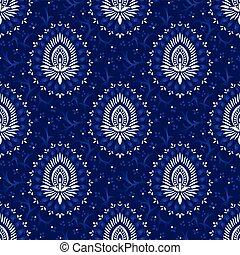 bleu, floral, damassé, seamless, modèle
