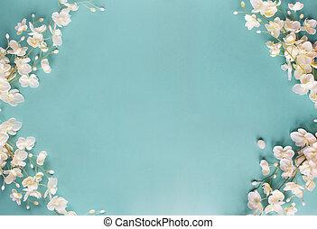 bleu, floral, fond, printemps
