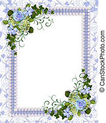 bleu, floral, invitation, gabarit