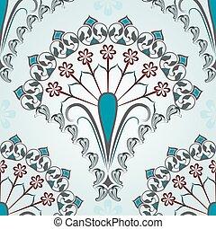 bleu, floral, vecteur, pattern., seamless