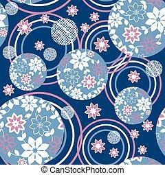 bleu, floral, vecteur, romantique, modèle