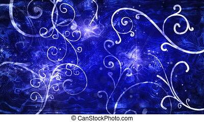 bleu, flourishes, boucle, fond