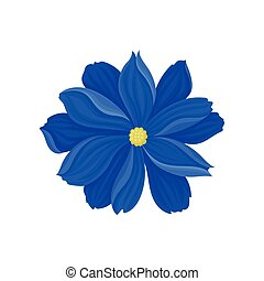 bleu, flower., illustration, arrière-plan., vecteur, fleurir, blanc
